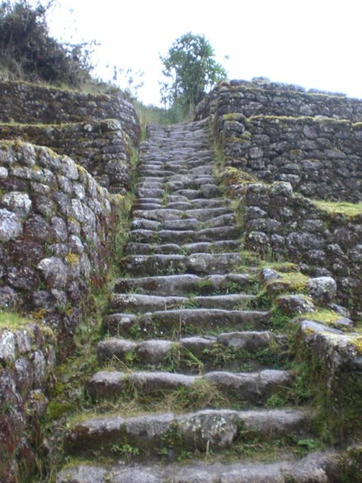 Slippery, steep Inka steps