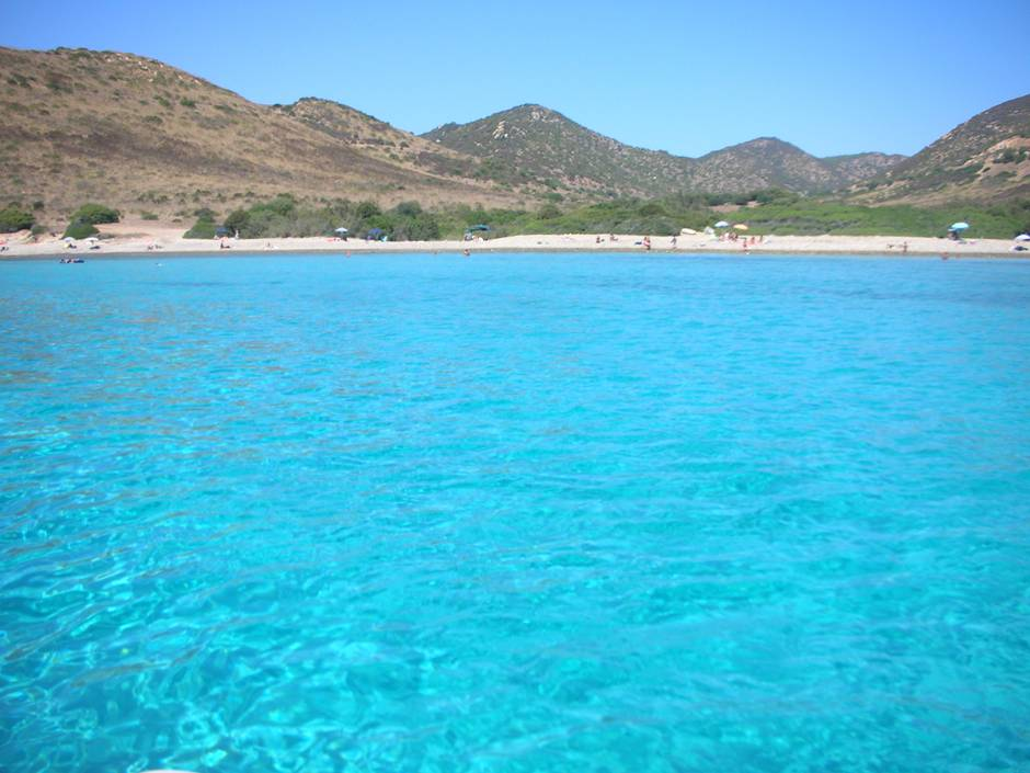 Crystal clear water in Punta Molentis - no wonder it is one of the best beaches in Sardinia
